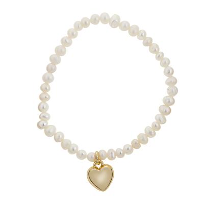 John Lewis Skinny Faux Pearl Heart Charm Stretch Bracelet, White/Gold