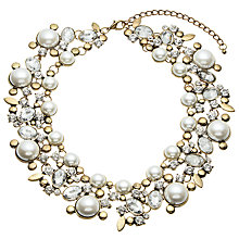 Buy John Lewis Faux Pearl and Glass Stone Statement Collar Necklace, Gold/White Online at johnlewis.com
