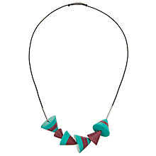 Buy One Button 6 Striped Cones Necklace, Jade/Chocolate Online at johnlewis.com