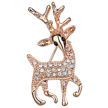 Buy John Lewis Mini Reindeer Brooch, Rose Gold Online at johnlewis.com