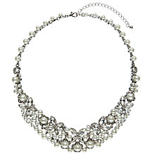 Buy John Lewis Statement Faux Pearl and Glass Stone Collar Necklace, Silver/White Online at johnlewis.com