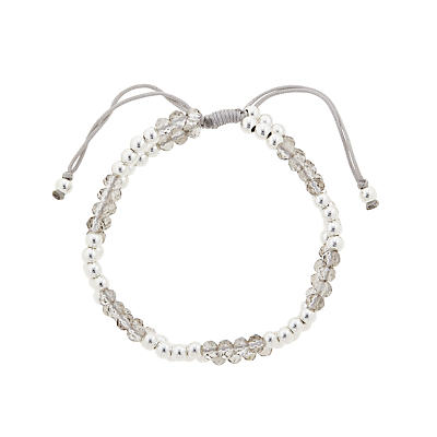 John Lewis Faceted and Polished Bead Friendship Bracelet, Grey/Silver