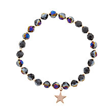 Buy John Lewis Beaded Star Charm Stretch Bracelet, Navy/Rose Gold Online at johnlewis.com