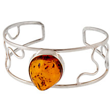 Buy Be-Jewelled Sterling Silver Amber Open Work Cuff, Silver/Orange Online at johnlewis.com