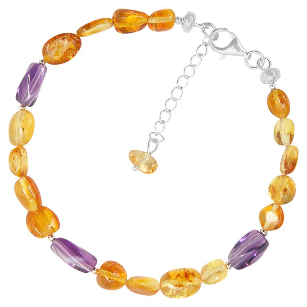 Goldmajor Goldmajor Amber and Amethyst Bracelet, Cognac/Purple