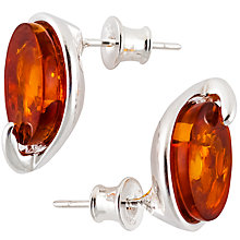 Buy Be-Jewelled Sterling Silver Amber Oval Stud Earrings, Silver/Orange Online at johnlewis.com