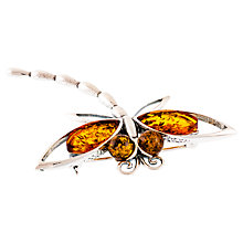 Buy Be-Jewelled Sterling Silver Amber Dragonfly Brooch, Silver/Orange Online at johnlewis.com