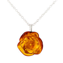 Buy Be-Jewelled Rose Amber Pendant Necklace, Amber Online at johnlewis.com