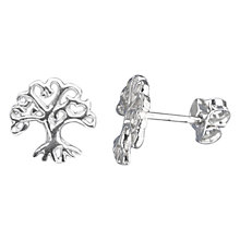 Buy Nina B Sterling Silver Oak Tree Stud Earrings, Silver Online at johnlewis.com
