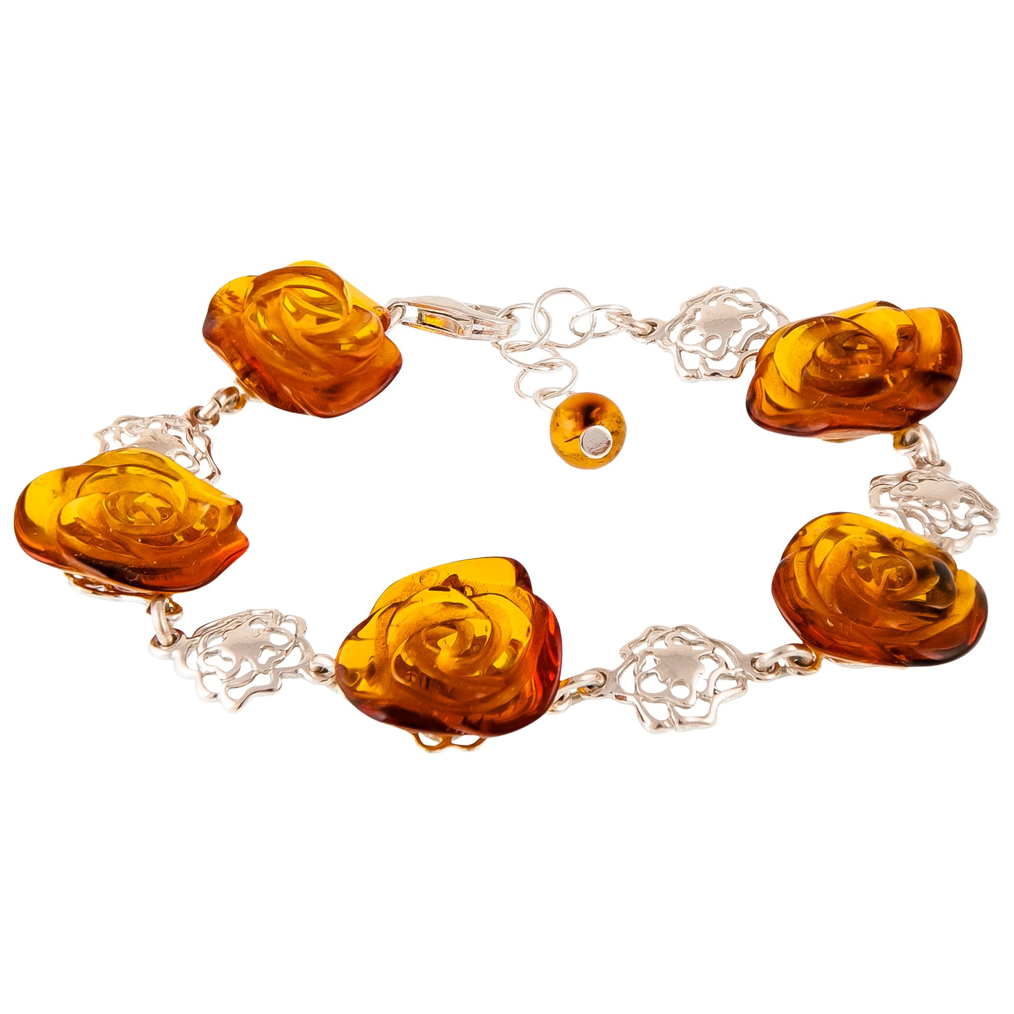 Be-Jewelled Be-Jewelled Amber Rose Sterling Silver Bracelet, Amber