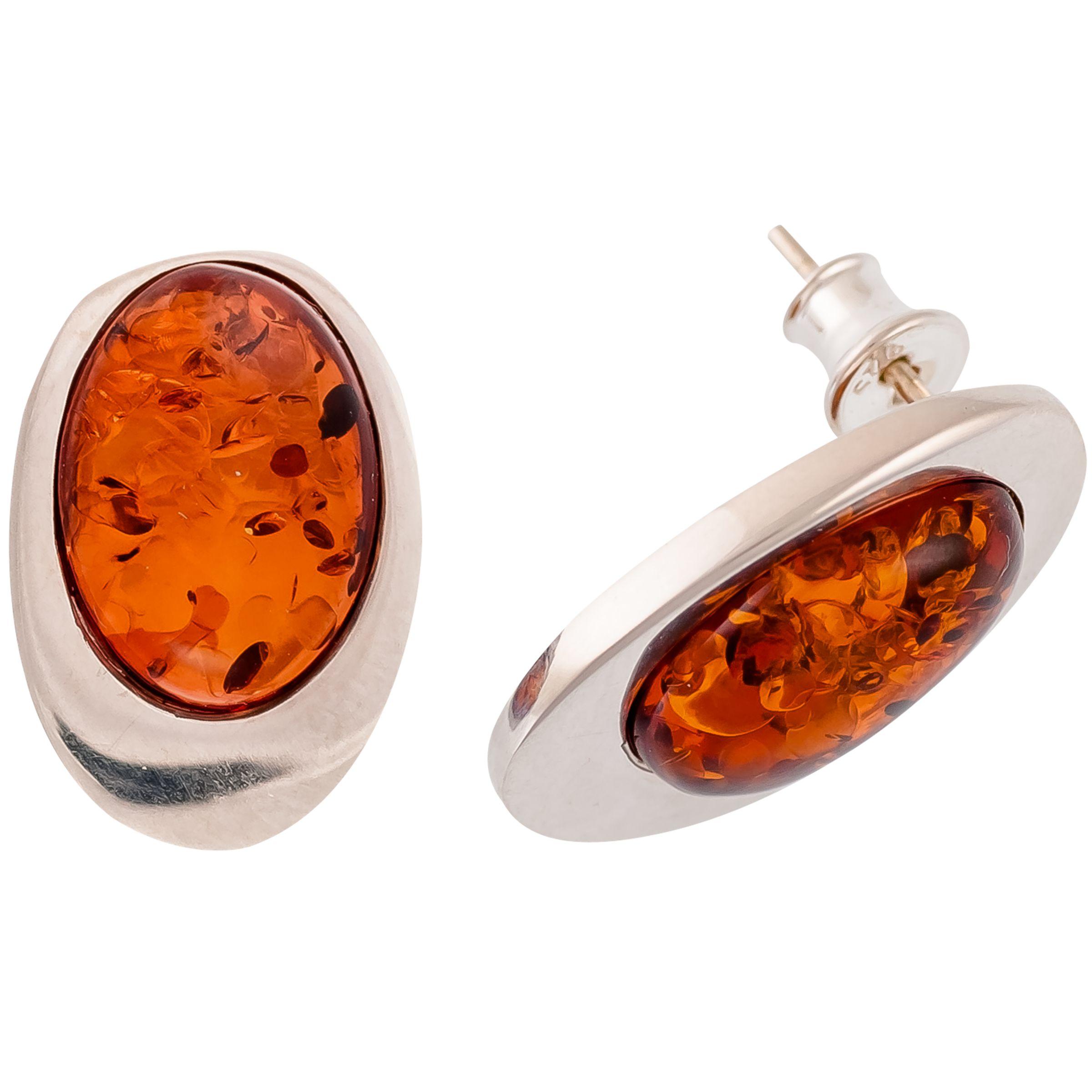 Be-Jewelled Be-Jewelled Sterling Silver Amber Oval Stud Earrings, Silver/Orange