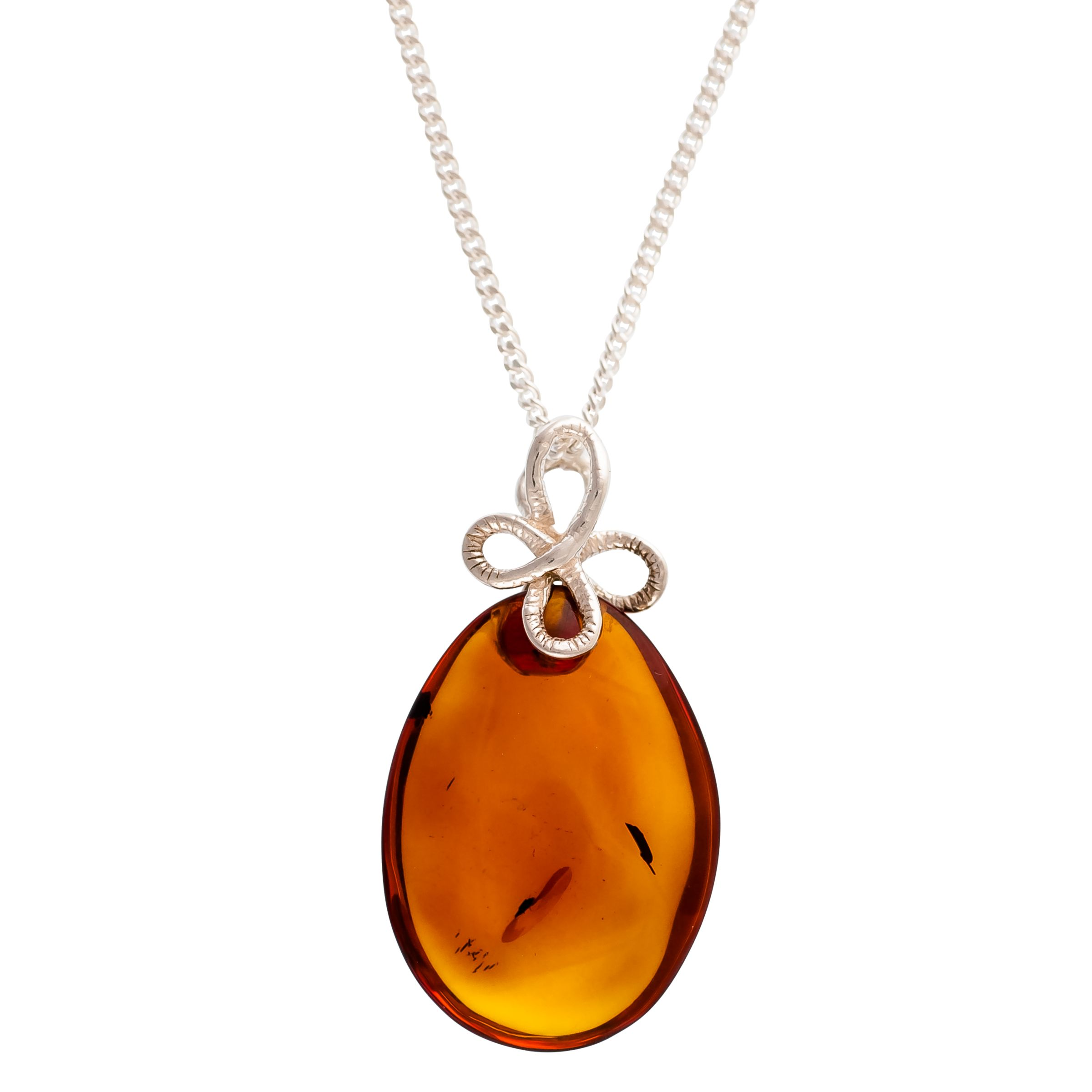 Be-Jewelled Be-Jewelled Sterling Silver Amber Bow Bail Pendant Necklace, Silver/Orange