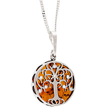 Buy Be-Jewelled Sterling Silver Amber Tree of Life Round Pendant Necklace, Silver/Orange Online at johnlewis.com