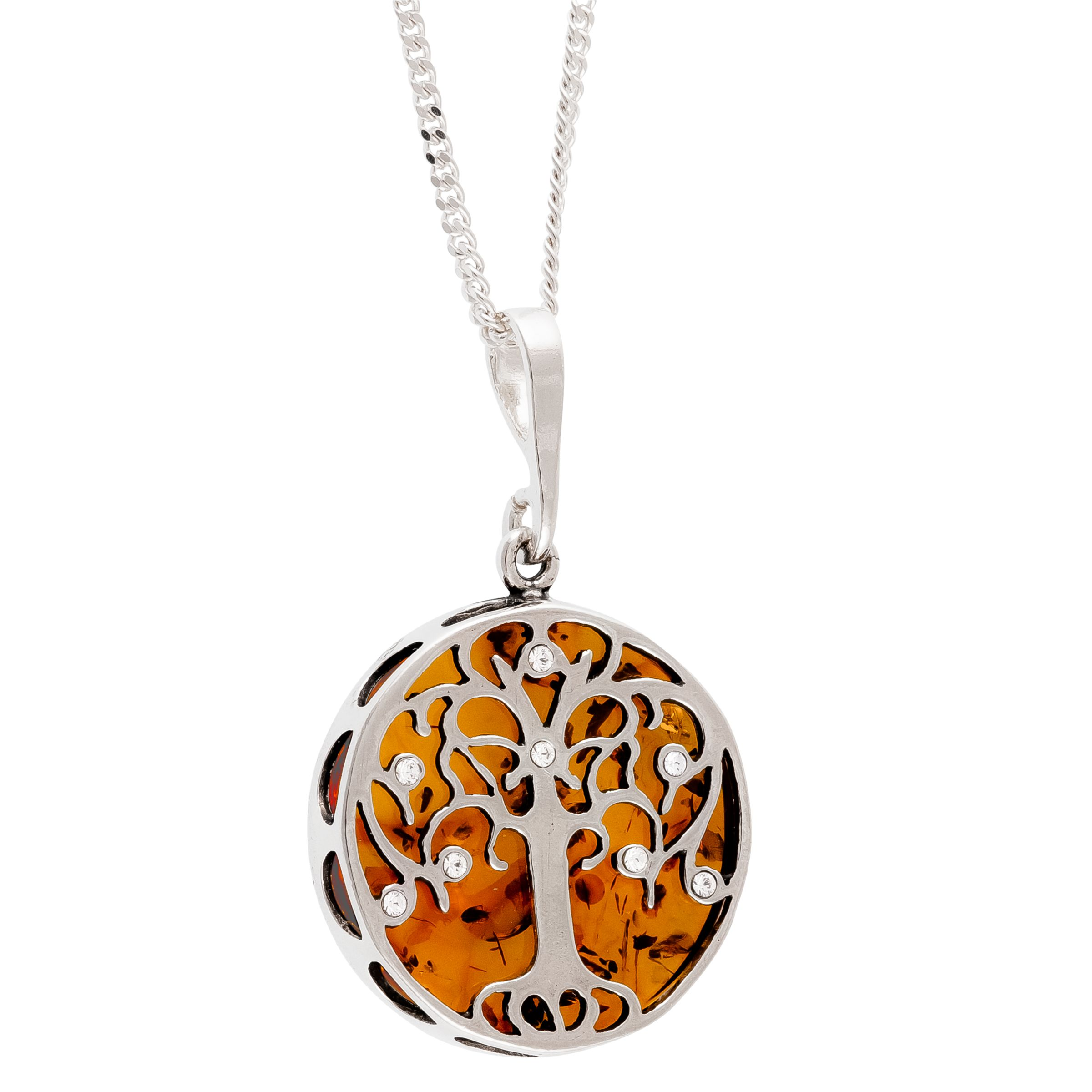 Be-Jewelled Be-Jewelled Sterling Silver Amber Tree of Life Round Pendant Necklace, Silver/Orange
