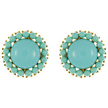 Buy Eclectica Vintage 1960s Trifari Gold Plated Circular Clip On Earrings, Turquoise Online at johnlewis.com