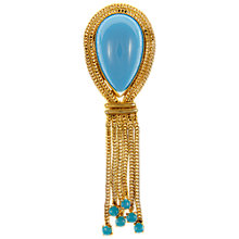 Buy Eclectica Vintage 1960s Tassel Brooch, Turquoise/Gold Online at johnlewis.com