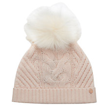 Buy Ted Baker Cable Knit Faux Fur Pom Pom Beanie Hat Online at johnlewis.com