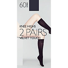 Buy John Lewis 60 Denier Velvet Touch Knee High Socks, Pack of 2 Online at johnlewis.com