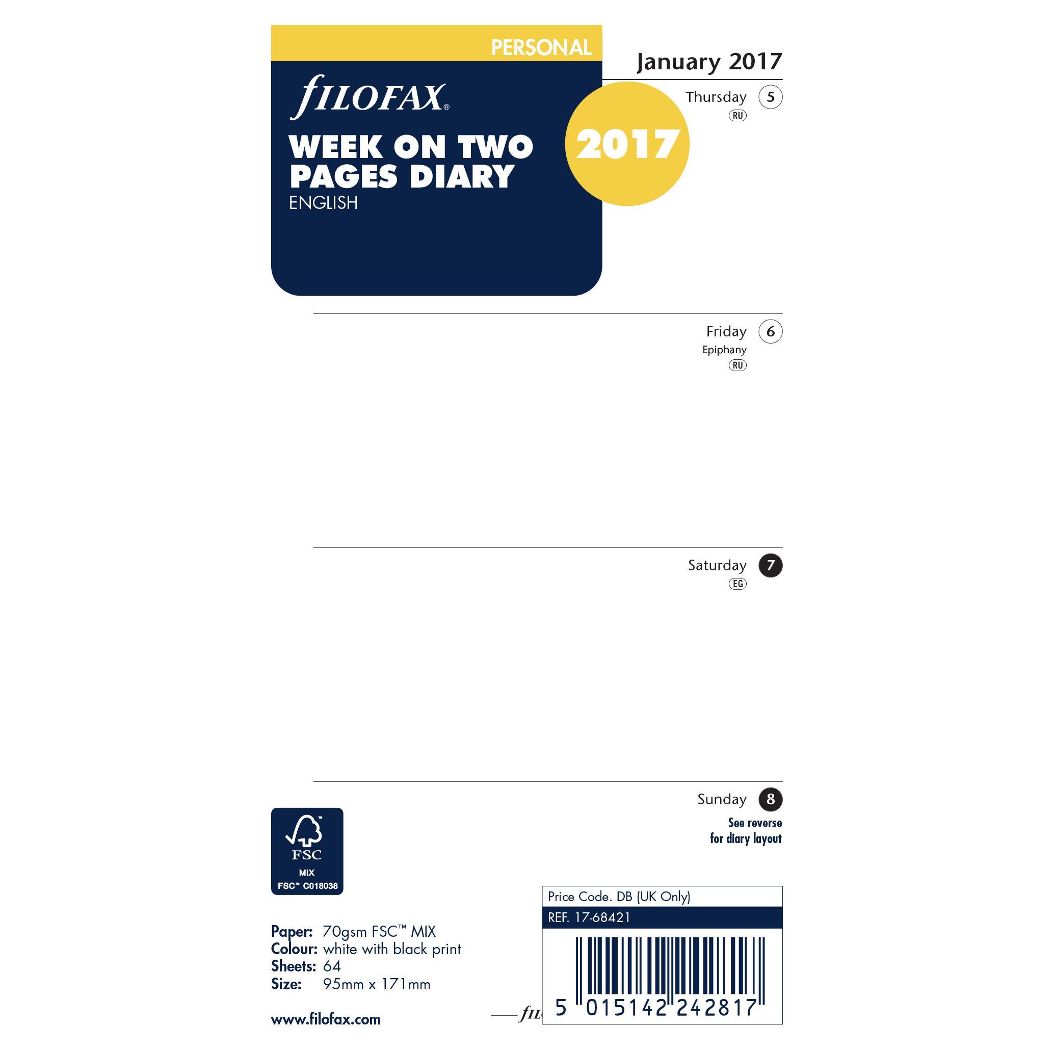 Filofax Filofax Week On 2 Pages 2017 Organiser Inserts, Personal