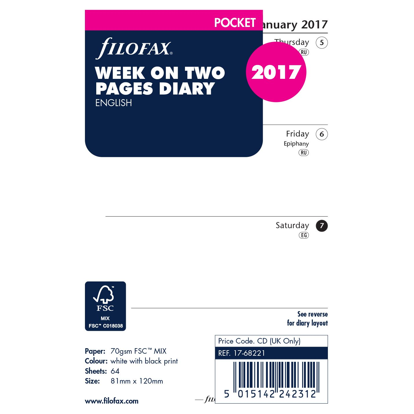 Filofax Filofax Week On 2 Pages 2017 Diary Inserts, Pocket