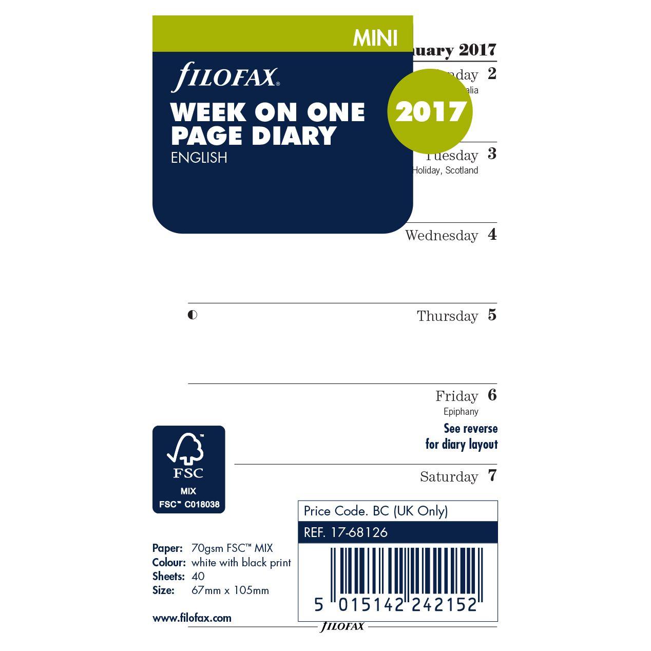 Filofax Filofax Week Per Page 2017 Diary Inserts, Mini
