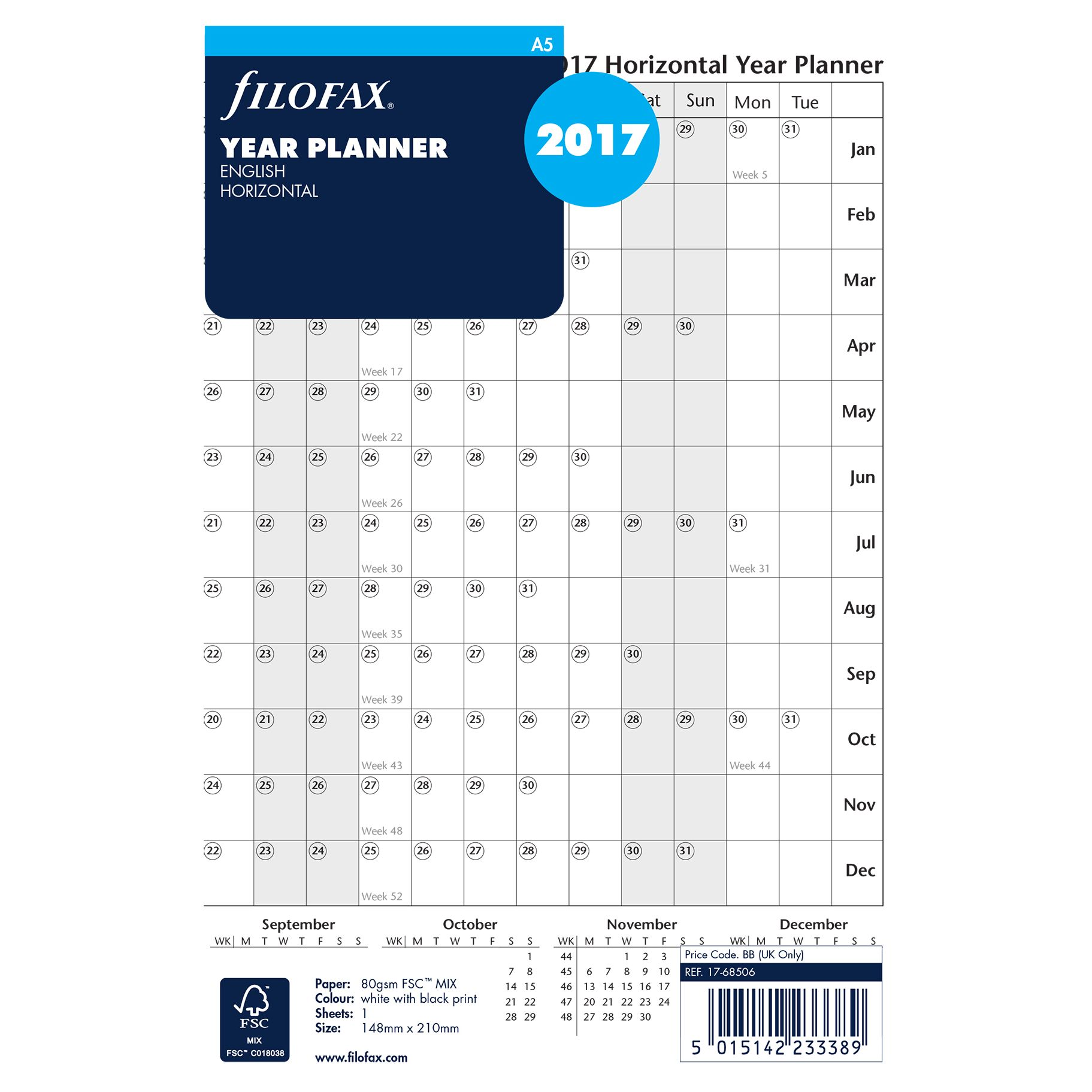 Filofax Filofax Horizontal 2017 Year Planner, A5