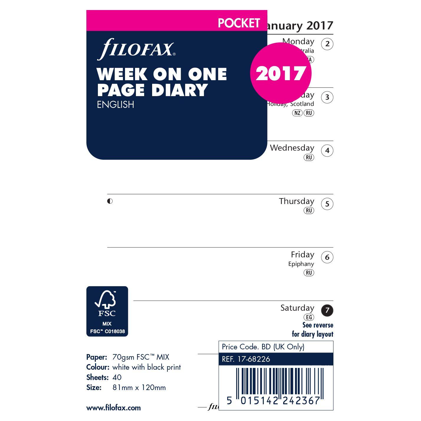 Filofax Filofax Week Per Page 2017 Diary Inserts, Pocket