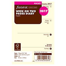 Buy Filofax Week On 2 Pages 2017 Diary Inserts, Pocket, Cream Online at johnlewis.com
