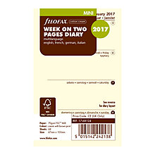 Buy Filofax Week On 2 Pages 2017 Diary Insert, Mini Online at johnlewis.com