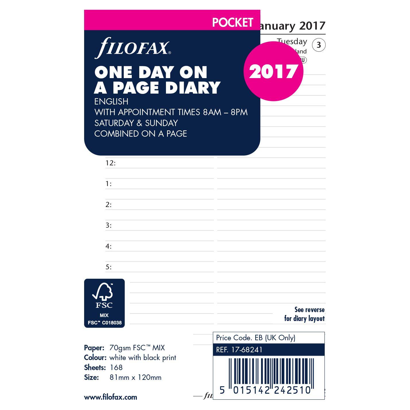 Filofax Filofax Day Per Page 2017 Diary Insert, Pocket