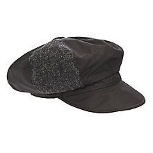 Buy Olney Ellie Tweed Waxed Cotton Bakerboy Rain Hat, Black Online at johnlewis.com