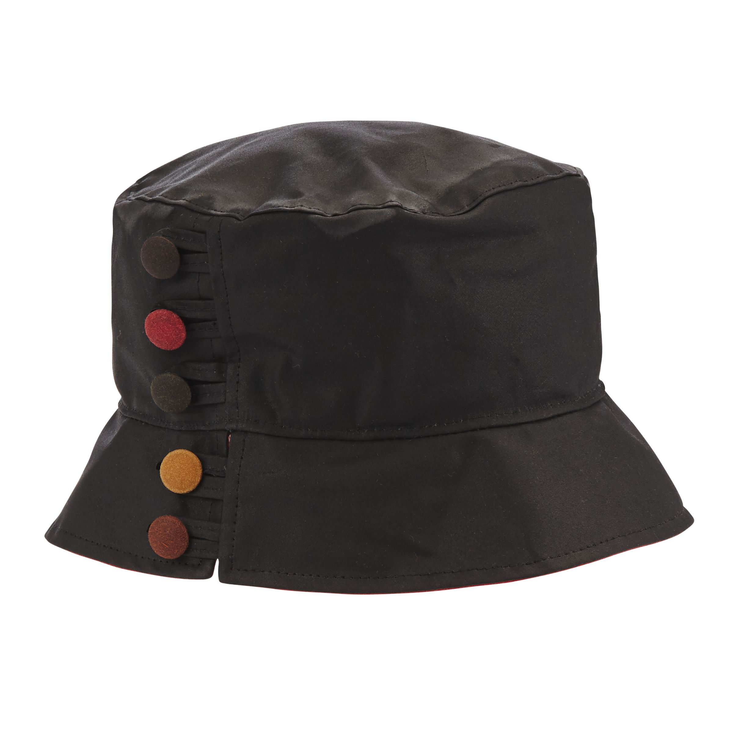 Olney Olney Waxed Cotton Button Detail Rain Hat, Black