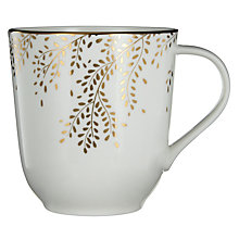 Buy John Lewis Contour Gold Bone China Willow Mug, White / Gold Online at johnlewis.com