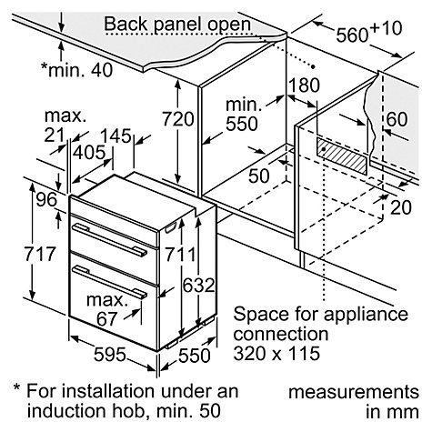 Buy Bosch HBN43B260B Built-Under Multifunction Double Oven