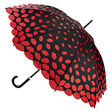 Buy Lulu Guinness Scattered Lips Kensington Umbrella, Black/Red Online at johnlewis.com