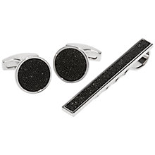 Buy Simon Carter Swarovski Crystal Tie Slide and Cufflinks Set, Black Online at johnlewis.com