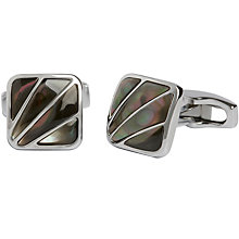 Buy Simon Carter Mother of Pearl Deco Fan Cufflinks, Grey Online at johnlewis.com