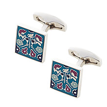 Buy Simon Carter Achive Enam Daisy Cufflinks, Teal Online at johnlewis.com