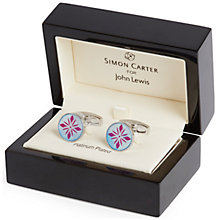 Buy Simon Carter Archive Mop Tile Cufflinks, Blue/Pink Online at johnlewis.com