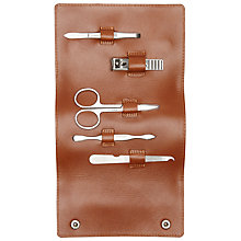 Buy John Lewis Leather Manicure Kit, Brown Online at johnlewis.com