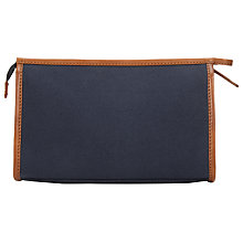 Buy John Lewis Canvas Leather Wash Bag, Navy Online at johnlewis.com