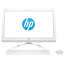"Buy HP 24-g032na All-in-One Desktop PC, Intel Core i3, 8GB RAM, 2TB, 23.8"" Full HD, Snow White Online at johnlewis.com"
