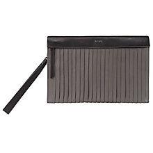 Buy DKNY Tribeca Smooth Leather Pouch, Dark Charcoal Online at johnlewis.com