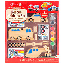 Buy Melissa & Doug Decorate Your Own Wooden Vehicles Rescue Set Online at johnlewis.com