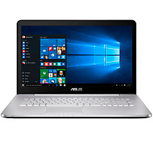 "Buy ASUS N Series Laptop, Intel Core i7, 12GB RAM, 2TB + 128GB SSD, NVIDIA GTX950M , 17.3"" Full HD, Grey Online at johnlewis.com"