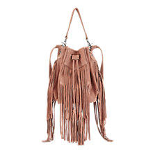 Buy Miss Selfridge Fringe Duffle Bag, Nude Online at johnlewis.com