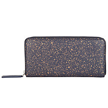 Buy John Lewis Liv Leather Medium Zip Around Purse, Navy Online at johnlewis.com