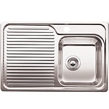 Buy Blanco Classic 40S Single Undermounted Sink with Left Hand Bowl, Stainless Steel Online at johnlewis.com