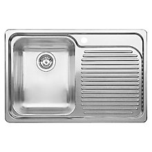 Buy Blanco Classic 4S Single Inset Sink with Left Hand Bowl, Stainless Steel Online at johnlewis.com