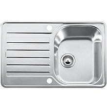Buy Blanco Lantos 45 S-IF Single Inset Compact Sink with Right Hand Bowl, Stainless Steel Online at johnlewis.com